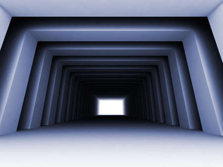 shined: Turn of the shined corridor with columns and light making the way ahead