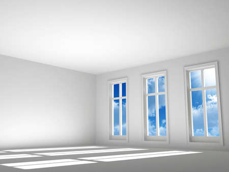 empty room in light tones with a sunlight and sky from a window photo