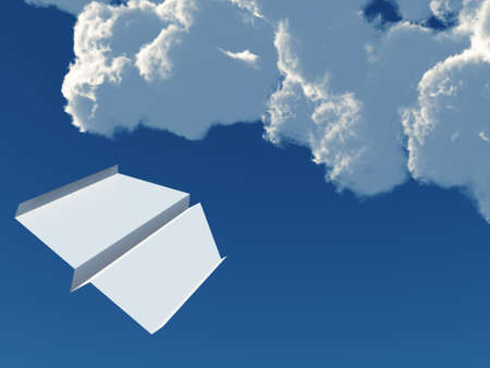 paper airplane on a background blue sky and clouds photo