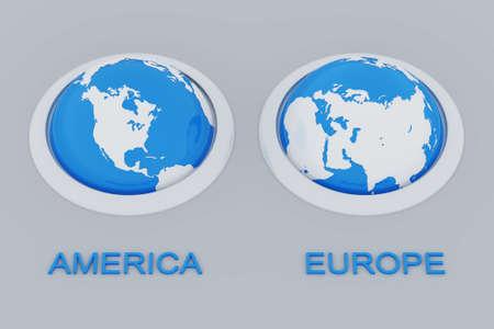 las esferas de la tierra con los continentes americano y europeo Foto de archivo - 4706803