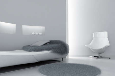 modern sofa and armchair in the light tones interior photo