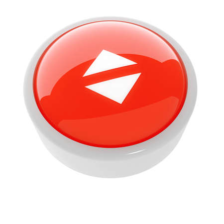 red button with a caution sign on a white background photo
