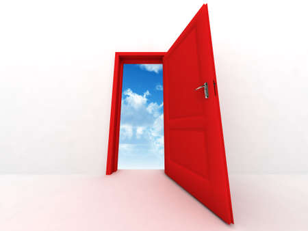wall and opened to sky red door on a white background