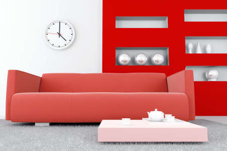 interior in red tones with a sofa and table with tea set Stock Photo - 4751610