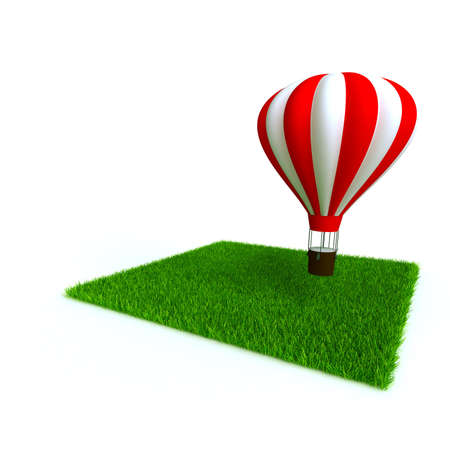 jorney: bright baloon and lawn from a green bright grass on a white background