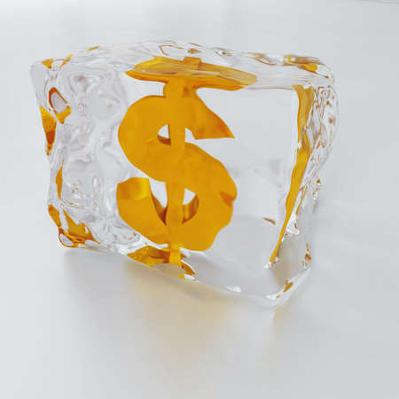 inwardly: block of ice with symbol of dollar frozen inwardly on a light background