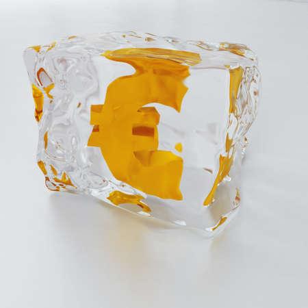 inwardly: block of ice with symbol of euro frozen inwardly on a light background