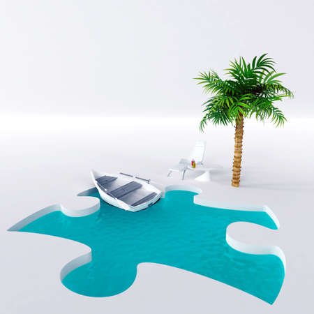 chair for relaxation under a palm and pool with a boat on a light background photo