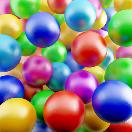 descriptive: abstract background from bright different colors shiny balls