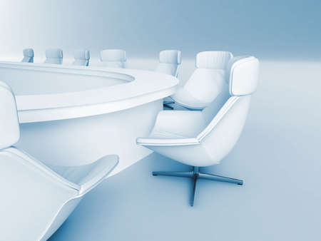rounded table is surrounded white leather chairs in a light room Stock Photo - 4829059
