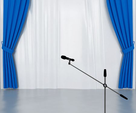 drapes: microphone on the stage with dark blue and silvery curtains
