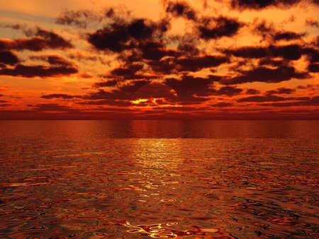 beautiful orange sunset above the surface of tropical sea photo