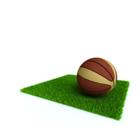 basketball on a lawn from a green bright grass on a white background Stock Photo - 4847745