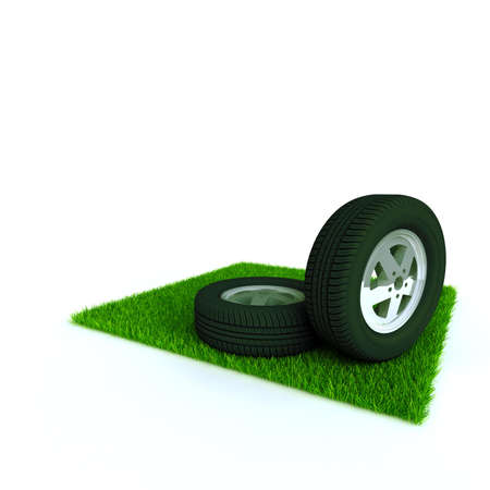 jorney: car wheels on a lawn with a green bright grass
