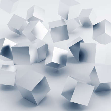 hit tech: Falling and hitting silver cubes on a white background