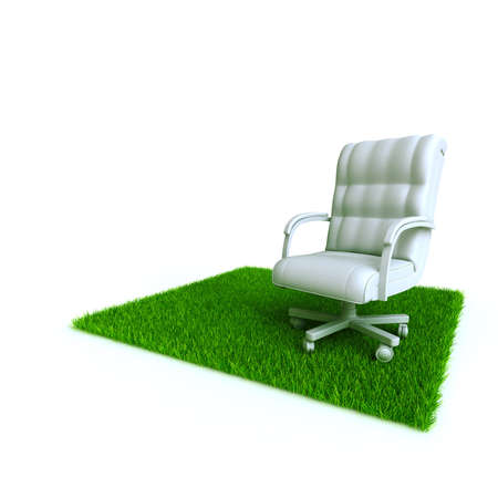 armchair on a lawn from a green bright grass on a white background photo