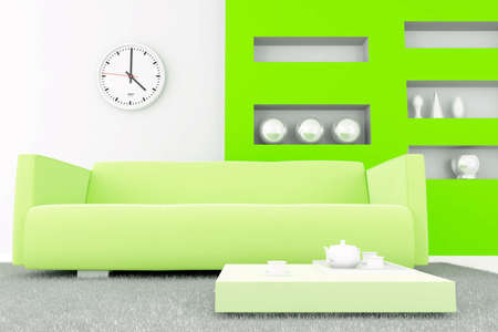 interior in green tones with a sofa and table with tea set Stock Photo - 5152808