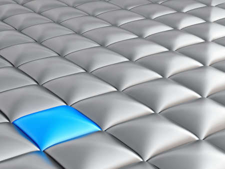 contrasting: abstract smooth grey metallic cubes with a contrasting blue cube