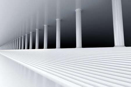 derecho romano: escalera de m�rmol blanco y la fila de columnas en la distancia de fuga Foto de archivo
