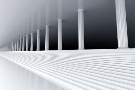 stability: white marble stair and row of columns vanishing in the distance