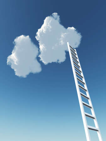 white stair rising to the cloud on a background blue sky Stock Photo