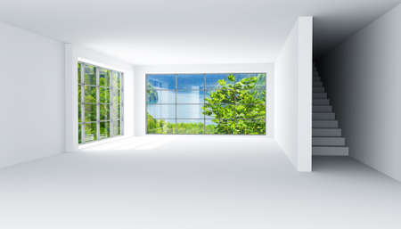 empty light room with large windows and stair Stock Photo - 5254351