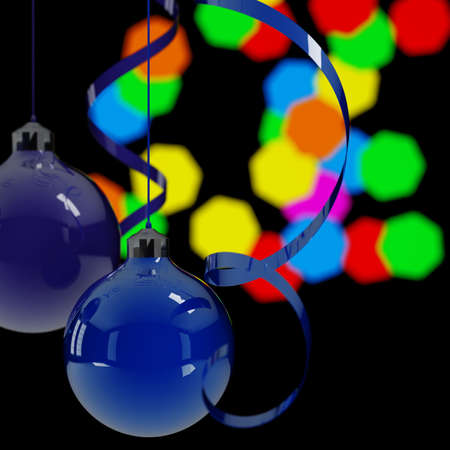 blue christmas balls and ribbons on a background lights in night Stock Photo - 5424342