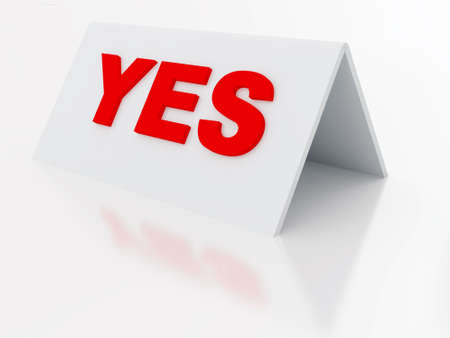 assertion: sign yes on a light plastic tablet on a white background Stock Photo