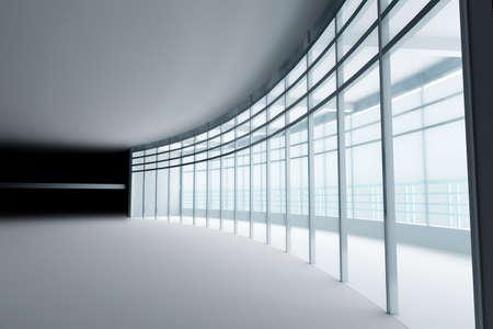 elevate: empty light big hall with glass windows