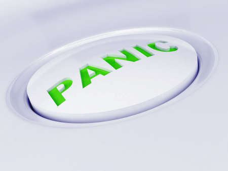 white plastic button with a green caution sign photo