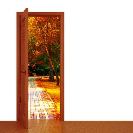unclosed: unclosed door and beautiful autumn landscape Stock Photo