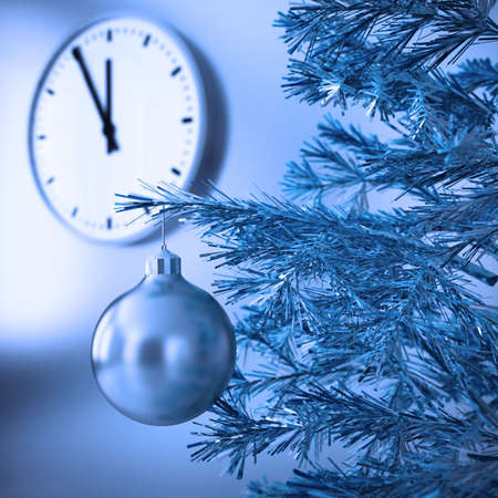 christmas bulbs: christmas tree with decorations on a background wall and clock
