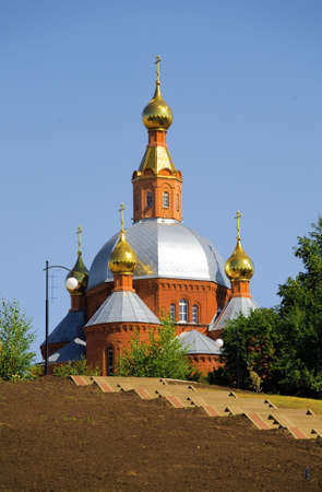 russian christian church with gold domes photo