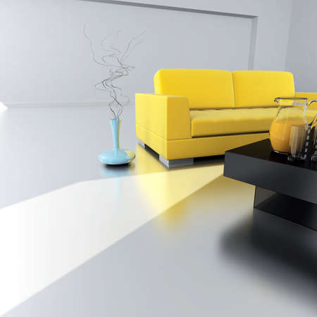 yellow sofa is in an empty light room Stock Photo - 5729106