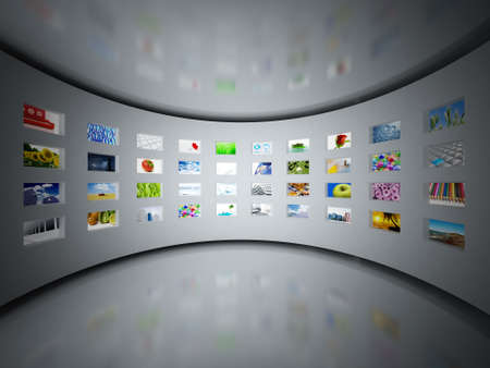 big screen tv: Set of monitors with static colourful and bright images