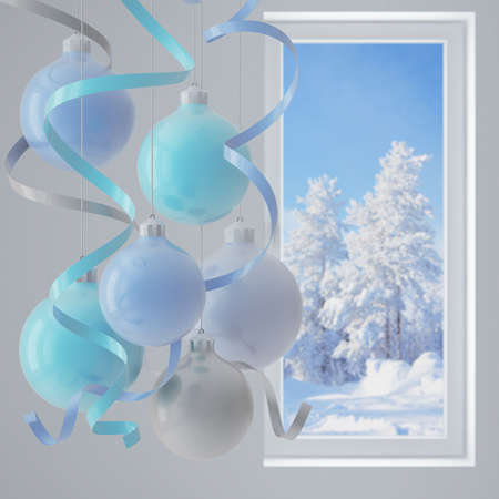 blue christmas balls in an environment of ribbons on a window background Stock Photo - 5729095