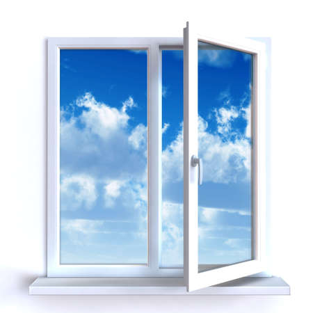 open window: Ventana abierta contra una pared blanca y el cielo nublado y el sol Foto de archivo