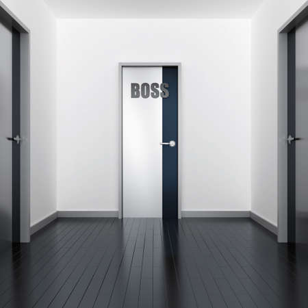 instructing: Corridor of modern office and door of the boss Stock Photo