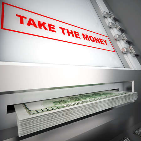 modern ATM, with red sign and dollars in a tray Stock Photo