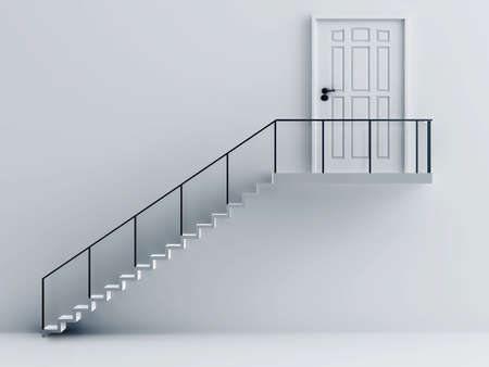 stair with metallic rails and door on a background a white wall photo