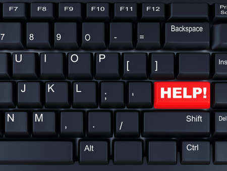 employment issues: black computer keyboard with the red button help Stock Photo