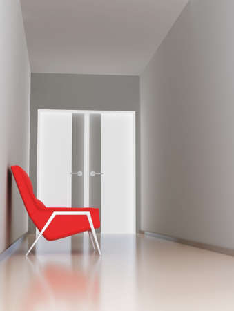 empty hall of business center with red arm-chair photo