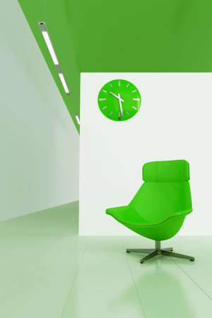 green toned interior with moder chair and clock photo