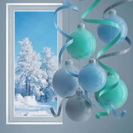 blue christmas balls in an environment of ribbons on a window background Stock Photo - 5950107