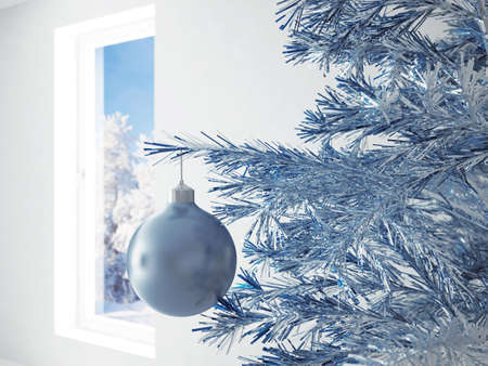 round window: blue christmas ball in an environment of ribbons on a window background