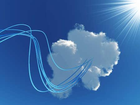 redes electricas: cables met�licos azules, conectados a un invironment del cielo y sol en nube  Foto de archivo