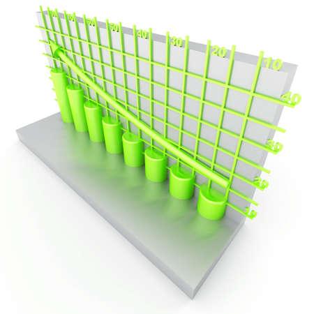 green columns of diagram with arrow rising upwards photo