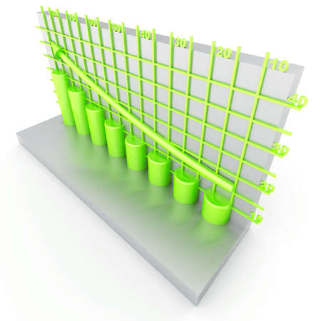 franchises: green columns of diagram with arrow rising upwards Stock Photo