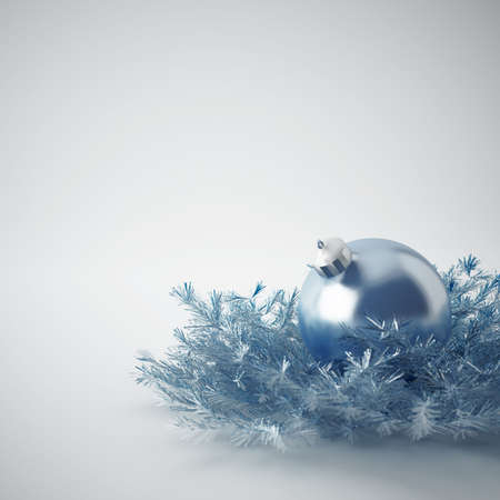 Christmas ball of gentle blue color in an environment of a tinsels and decorations Stock Photo - 5992821