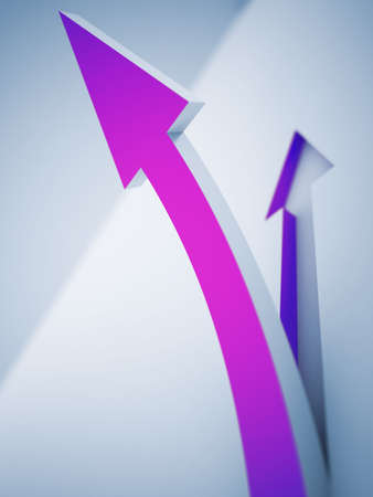 customized: purple pointer, rising up on a light background Stock Photo